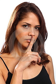 Beautiful Young Woman Makes Keep Quiet Sign Royalty Free Stock Images - Image: 17898389