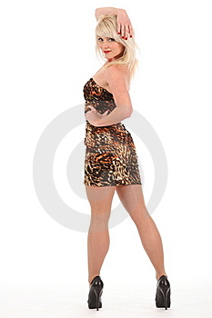 Sexy Blonde Woman In High Heels And Short Dress Royalty Free Stock Photo - Image: 17898475