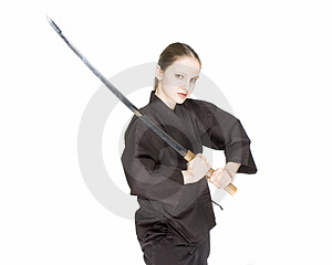 Girl holding katana Stock Images