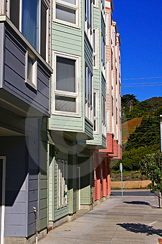 Colorful Row Of Modern Apartment Buildings Stock Images - Image: 1794064