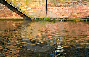 Steps On Quay Of Canal In Town Stock Image - Image: 17901671