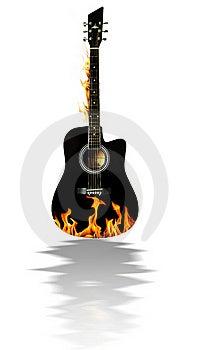 Schwarze Akustikgitarre Auf Feuer Stockfotos - Bild: 17902943