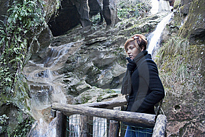 Standing By The Waterfalls Royalty Free Stock Image - Image: 17906316