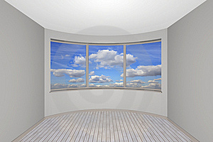 Empty New Room With A Bay Window Stock Photography - Image: 17906402