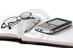 Open Notebook With Smartphone Stock Photography - Image: 17909592