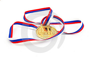 Golden Medal And Ribbon Stock Image - Image: 17910081