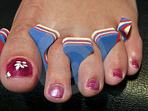 Woman Foot After A French Pedicure, USA Royalty Free Stock Images - Image: 17911859