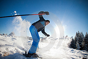 Man practising extreme ski Royalty Free Stock Photos