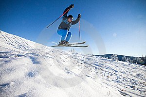 Man practising extreme ski Free Stock Photo