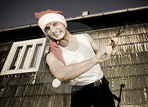 Furious Santa With An Axe Stock Photos - Image: 17913433