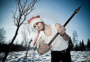 Furious Santa With An Axe Stock Images - Image: 17913434