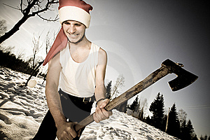 Furious Santa With An Axe Stock Images - Image: 17913444