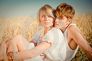 Image Of Young Man And Woman On Wheat Field Royalty Free Stock Images - Image: 17915029