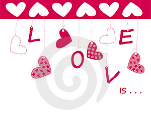 Valentine Greeting Card Wiht Hearts Royalty Free Stock Photos - Image: 17915408