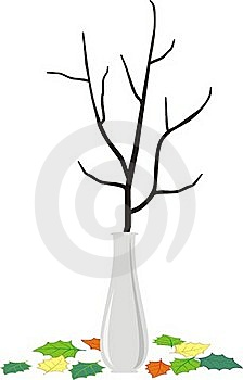 Branch In Vase And Fallen Down Leaves - Cartoon St Royalty Free Stock Images - Image: 17917539