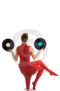 Young Woman With Vinyl Record Stock Images - Image: 17920514