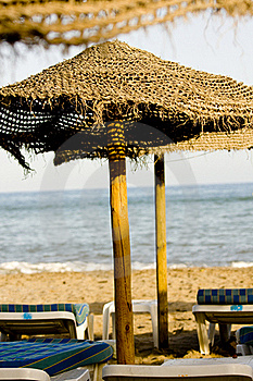 Straw Umbrella And Chairs Stock Photos - Image: 17927073