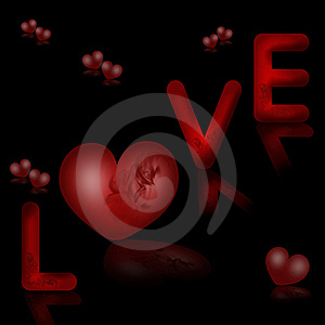 Valentines Background With Word Love And Hearts Royalty Free Stock Images - Image: 17930389