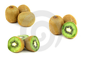 Collection Of Kiwi Fruits Isolated On White Backgr Royalty Free Stock Images - Image: 17931149
