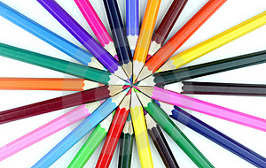 Colorful Pencils On White Background. Stock Photos - Image: 17931183