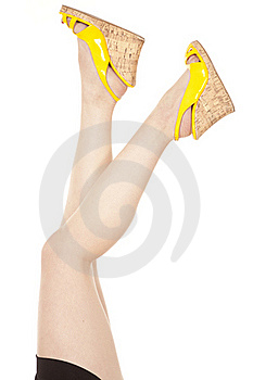 Woman Legs Apart Yellow Shoes Stock Images - Image: 17932724