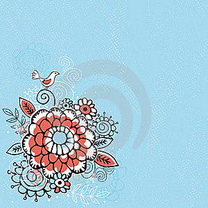 Hand Draw  Flowers On  Blue Grunge Background Stock Photography - Image: 17947612