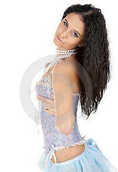 Cute Brunette Flirting In Corset Royalty Free Stock Image - Image: 17948186