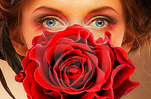 Woman And Red Rose Royalty Free Stock Photography - Image: 17948507