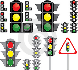 Big Set Of Traffic Light Variants Stock Photos - Image: 17953693