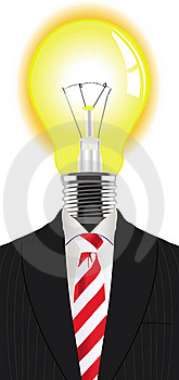 Man with a lightbulb instead of the head
