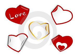 Heart Shape Set Of Stickers. Stock Image - Image: 17961411