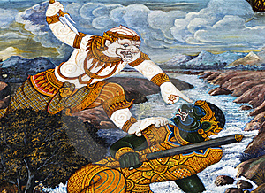 Hanuman Fight And A Demon , Royalty Free Stock Image - Image: 17966206
