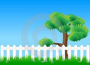 Meadow Fence Tree Stock Photos - Image: 17966613