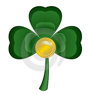 Sheet Clover And Coin Stock Photo - Image: 17966670