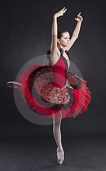 Pretty Ballerina Posing In A Red Tutu Stock Image - Image: 17967651
