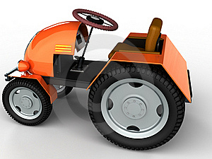 Tractor With A Yellow Trunk And Big Wheels №1 Stock Image - Image: 17967831