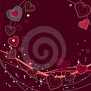 Contour Red Hearts On Dark Red Background Stock Photo - Image: 17969200