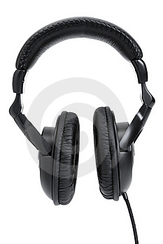 Black Headphones Isolated On White Royalty Free Stock Images - Image: 17970029