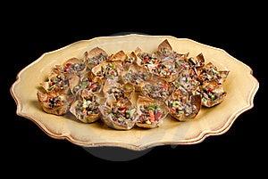 Won Ton Appetizer Platter On Black Background Stock Photo - Image: 17971180