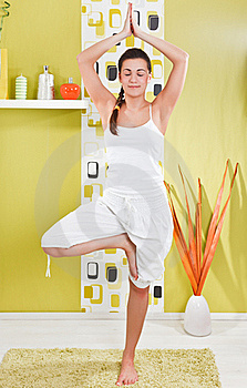 Young Girl In A Yoga Position Royalty Free Stock Image - Image: 17971776