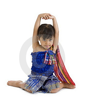 Little Girl With Arms Up Und Tongue Out Stock Photos - Image: 17979393