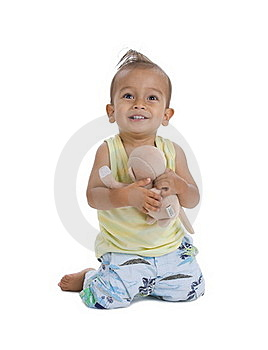 Cute Little Boy With Cuddly Stock Images - Image: 17979404