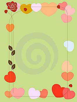 Background With Hearts And Rose Royalty Free Stock Image - Image: 17980946