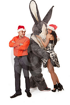 Big Rabbit Flirting With Cute Girl Royalty Free Stock Photo - Image: 17984925