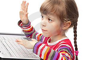 Little Girl With A Laptop Stock Photography - Image: 17984962