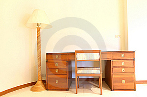 Bedside Table With Three Drawers And Reading Lamp Stock Photography - Image: 17987122