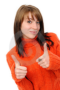 Success Girl Exposing Greater Fingers Royalty Free Stock Photo - Image: 17990215