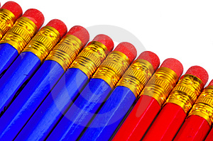 Red And Blue Pencils Stock Photos