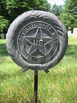 Revolutionary War Emblem at Cemetery Stock Photo