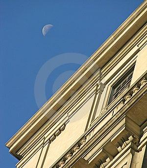 Luna ed ufficio Immagine Stock